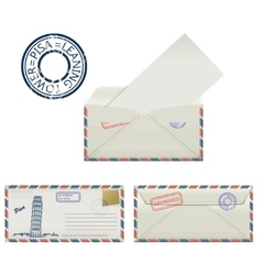 Set of envelopes from pisa with a painted the vector