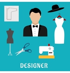 Fashion designer with sewing tools and clothing vector