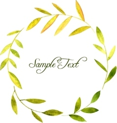 Round wreath with watercolor green leaves and vector