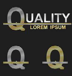 Metallic business font design - letter q vector