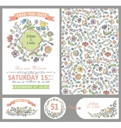 Wedding design template setdoodle floral decor vector