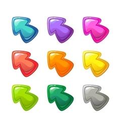 Cartoon colorful glossy arrows set vector image