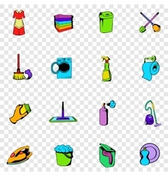 Cleaning set icons vector