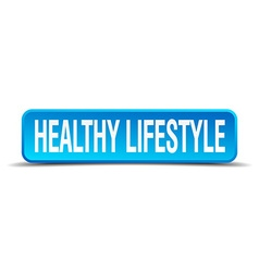 Healthy lifestyle blue 3d realistic square vector