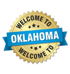 Oklahoma 3d gold badge with blue ribbon vector