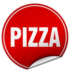 Pizza round red sticker isolated on white vector