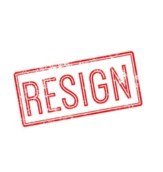 Resign red rubber stamp on white vector