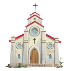 Old stone catholic church in cartoon style vector