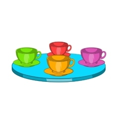 Attraction cups of tea spinning in a circle icon vector