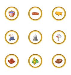 American things icons set cartoon style vector