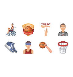 Basketball and attributes icons in set collection vector