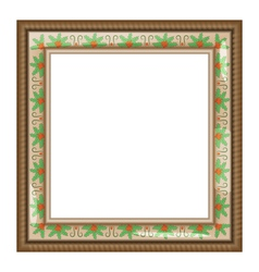 Brown frame with holly isolated on white vector image