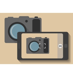 Camera phone taking photo of camera vector
