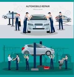 Car repair banners set vector