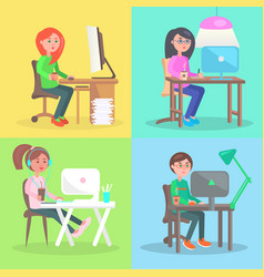 Cartoon employees work at computer in office set vector