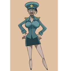 cartoon serious woman in police uniform vector image vector image