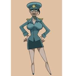 Cartoon serious woman in police uniform vector