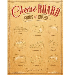 Cheeseboard kraft vector