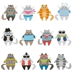 Dressed colorful cute cats vector