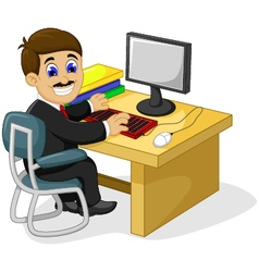 funny businessman cartoon working in his office de vector image vector image
