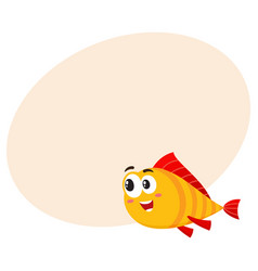 Funny golden fish character with human face vector