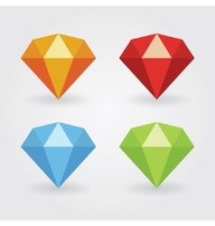 Gem icons in various colours vector
