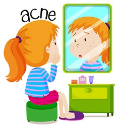 Girl looking at acnes in the mirror vector