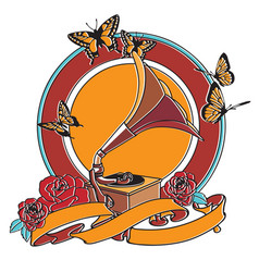 Gramophone and roses badge vector