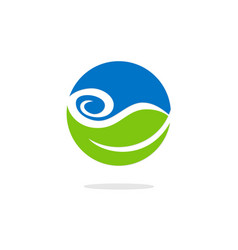 Green leaf water bio ecology logo vector