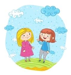 Happy young girl cartoon characters vector