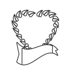 heart leave organic emblem line vector image vector image
