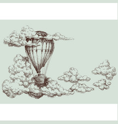 hot air balloon up in the sky retro poster vector image vector image