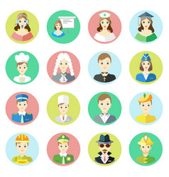 icons characters of different professions vector image vector image