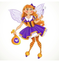Little tooth fairy with bag of tooth vector