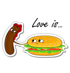 Love is in love food sticker vector