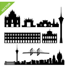 macau landmark and skyline silhouettes vector image