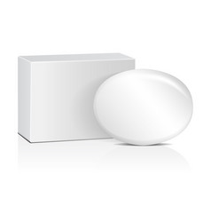 oval soap with white box realistic mockup package vector image vector image