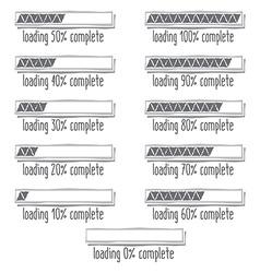 Progress loading bar from 0 to 100 percent vector