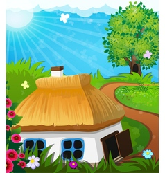 Rural landscape with a house vector image