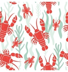 Seamless pattern with lobster vector image vector image