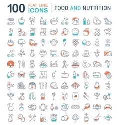 Set line icons food vector