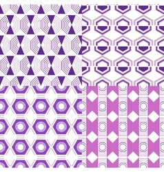 Set of seamless abstract geometric pattern vector image vector image