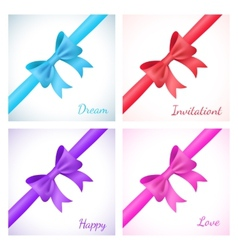 Set of shiny bow and ribbon on white background vector image