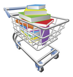 shopping trolley cart full of books concept vector image