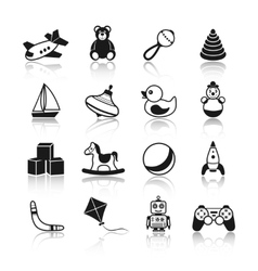 Toys Black Icons Set vector image