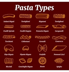 Traditional italian pasta list with names vector