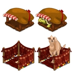 Turtle and camel in cozy house for animals vector image vector image