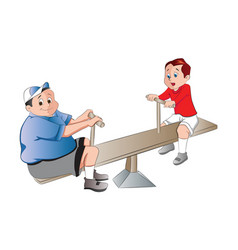 two boys playing on a seesaw vector image vector image