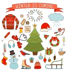 Winter and Christmas icons set Hand drawn vector image vector image