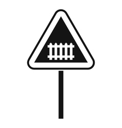 Warning road sign icon simple style vector